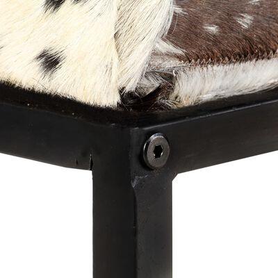 vidaXL Bänk 110 cm svart lapptäcke äkta getskinn