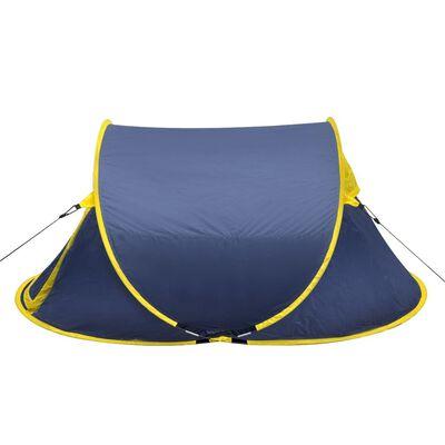 Pop-up Campingtält 2 Personer marinblå/gul