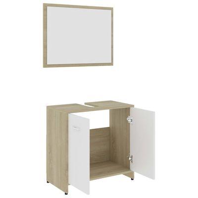 vidaXL Badrumsmöbler set vit och sonoma-ek spånskiva