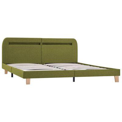 vidaXL Sängram med LED grön tyg 180x200 cm, Green