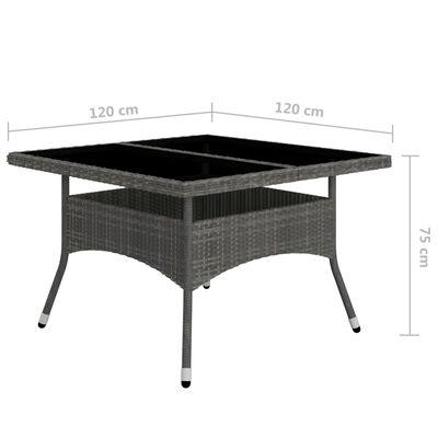 vidaXL Matgrupp för trädgården 9 delar konstrotting och glas grå