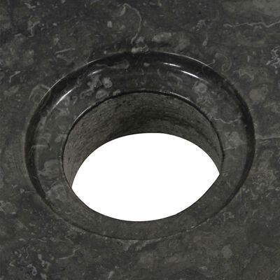 vidaXL Badrumsunderskåp massiv teak med handfat marmor svart
