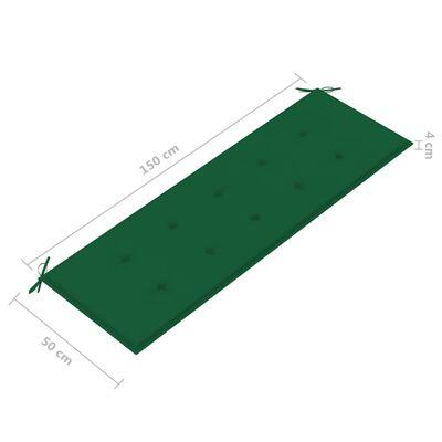 vidaXL Trädgårdsbänk med grön dyna 150 cm massiv teak