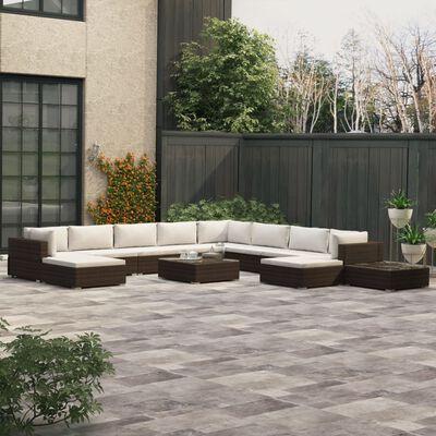 vidaXL Loungegrupp för trädgården med dynor 12 delar konstrotting brun