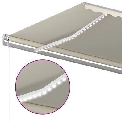vidaXL Markis med LED manuellt infällbar 6x3,5 m gräddvit