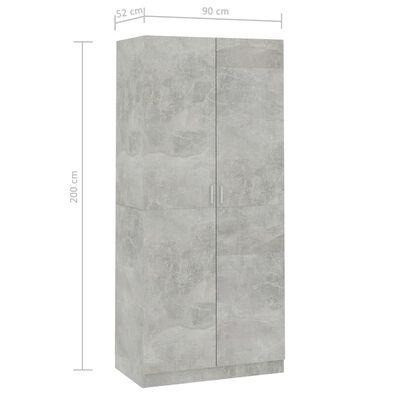 vidaXL Garderob betonggrå 90x52x200 cm spånskiva