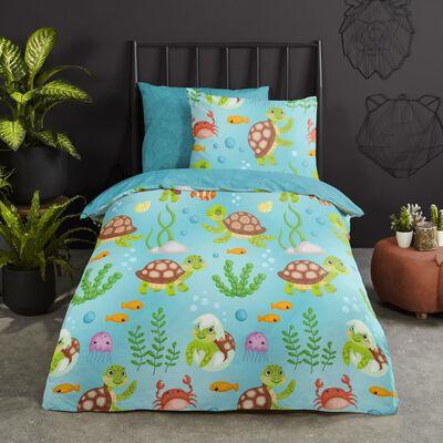 Good Morning Bäddset för barn TURTLES 140x200/220 cm blå