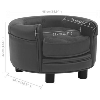 vidaXL Hundsoffa mörkgrå 48x48x32 cm plysch och konstläder
