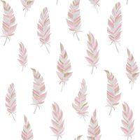 Urban Friends & Coffee Tapet fjädrar vit och rosa