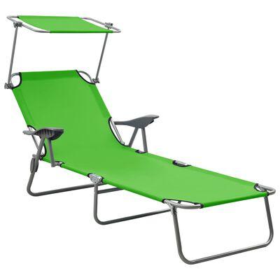 vidaXL Solsäng med soltak stål grön