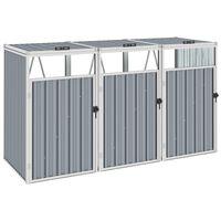 vidaXL Skjul för tre sopkärl grå 213x81x121 cm stål