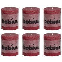 Bolsius Rustika blockljus 6 st 80x68 mm vinröd