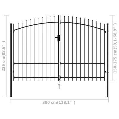 vidaXL Dubbelgrind med spetsig topp stål 3x1,75 m svart