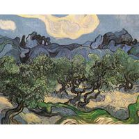 Olive Trees with the Alpilles in the Background,Vincent Van Gogh