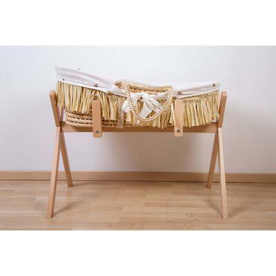 CHILDHOME Moses korg Raffia med madrass och dyna hjärtmönster