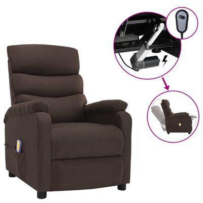 vidaXL Elektrisk massagefåtölj brun tyg