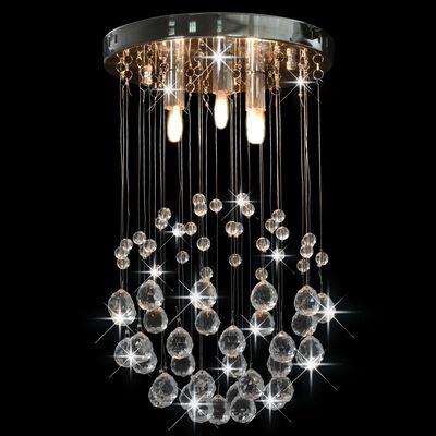 vidaXL Taklampa med kristallpärlor silver sfär 3 x G9-lampor