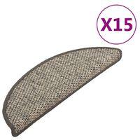 vidaXL Trappstegsmattor självhäftande sisal 15 st 65x25 cm antracit