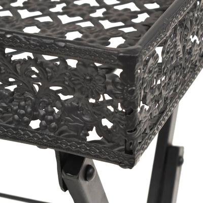 vidaXL Hopfällbart tebord vintage stil metall 58x35x72 cm svart