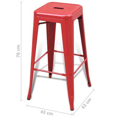 vidaXL Barstolar 6 st röd stål