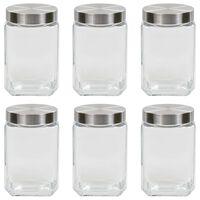 vidaXL Förvaringsburkar i glas med silvriga lock 6 st 1700 ml