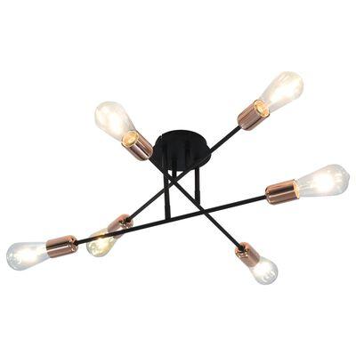 vidaXL Taklampa svart och koppar E27