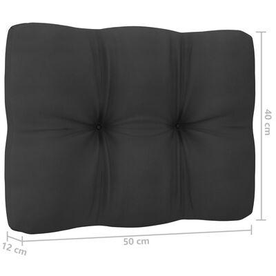 vidaXL Loungegrupp för trädgården med dynor 11 delar svart massiv furu