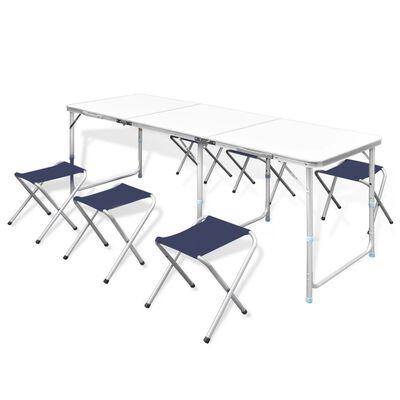 Campingbord med 6 pallar 180 x 60 cm