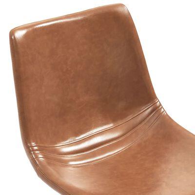 vidaXL Matgrupp 7 delar konjaksbrun konstläder