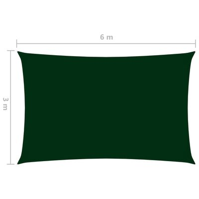 vidaXL Solsegel oxfordtyg rektangulärt 3x6 m mörkgrön,