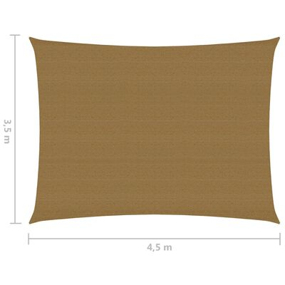 vidaXL Solsegel 160 g/m² taupe 3,5x4,5 m HDPE