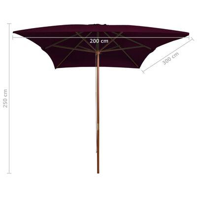 vidaXL Trädgårdsparasoll med trästång vinröd 200x300 cm