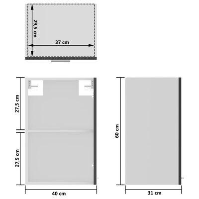 vidaXL Väggskåp med glasdörrar grå 40x31x60 cm spånskiva