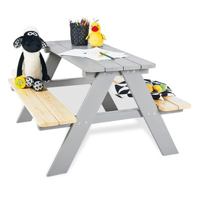 Pinolino Bänkbord för barn Nicki für 4 trä grå