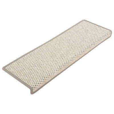 vidaXL Trappstegsmattor självhäftande sisal 15 st 65x25 cm beige