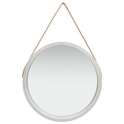 vidaXL Väggspegel med rem 60 cm silver