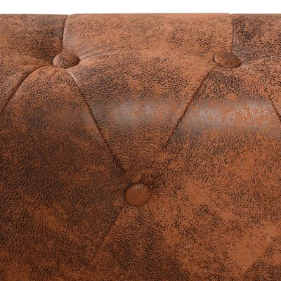 vidaXL 6-sitsig Chesterfield hörnsoffa konstläder brun
