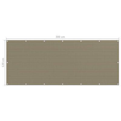 vidaXL Balkongskärm taupe 120x300 cm HDPE, Taupe