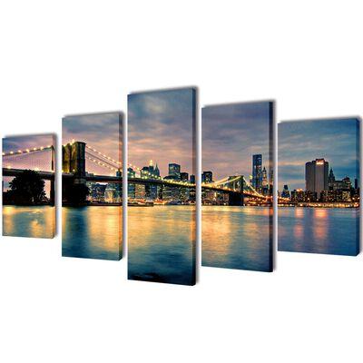 Uppsättning väggbonader på duk: Brooklyn Bridge med flodvy 100 x 50 cm