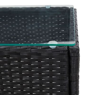 vidaXL Loungegrupp för trädgården med dyna 2 delar konstrotting svart