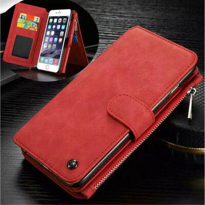 CASEME iPhone 6 / 6s Retro läder plånboksfodral - Röd