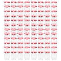 vidaXL Syltburkar i glas med vita och röda lock 96 st 230 ml