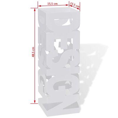 vidaXL Paraplyställ 48,5 cm fyrkantig stål vit