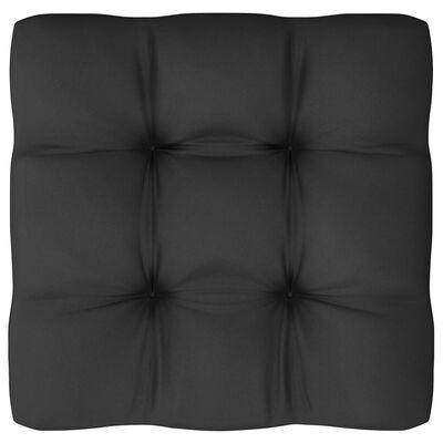 vidaXL Loungegrupp för trädgården med dynor 9 delar svart massiv furu