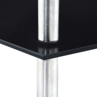 vidaXL Hylla 5 hyllplan svart 30x30x130 cm härdat glas