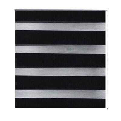 Rullgardin randig svart 140 x 175 cm transparent