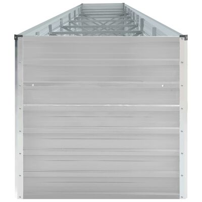 vidaXL Odlingslåda upphöjd galvaniserat stål 600x80x77 cm grå