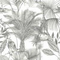 DUTCH WALLCOVERINGS Tapet Kidatu grå och vit