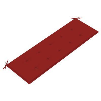 vidaXL Trädgårdsbänk med dyna 157 cm massivt akaciaträ, Röd