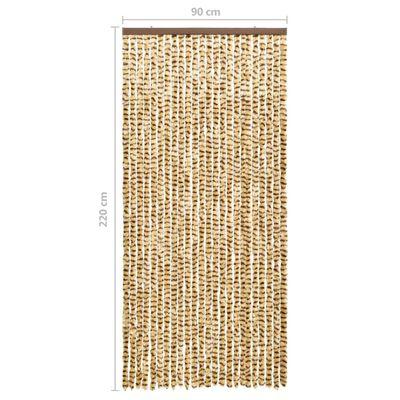 vidaXL Insektsdraperi beige och brun 90x220 cm chenille
